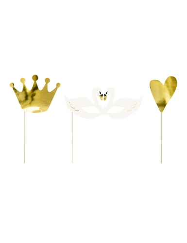 Kit photobooth 3 accessori cigno oro