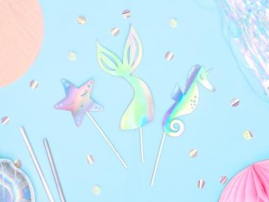 3 decorazioni per torte sirena iridescenti-1