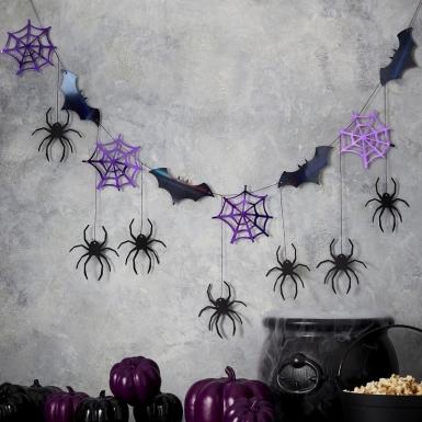 Ghirlanda pipistrelli e ragni nero e viola 3 m-2