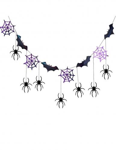 Ghirlanda pipistrelli e ragni nero e viola 3 m-1