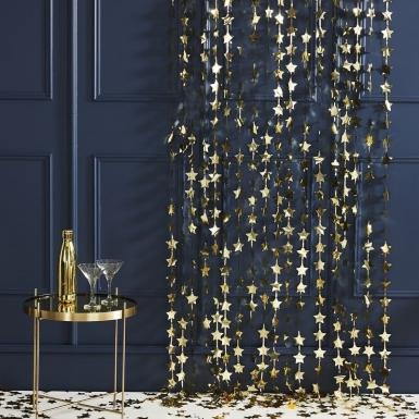 Tenda di frange con stelle oro-1