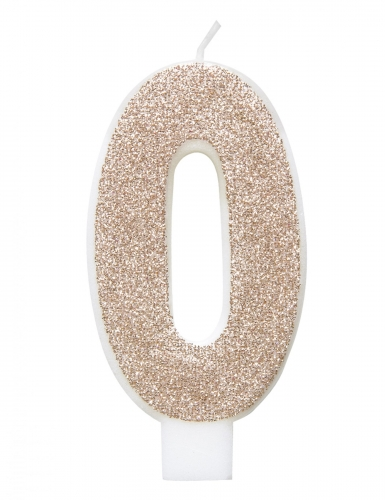 Candelina numero con brillantini color champagne