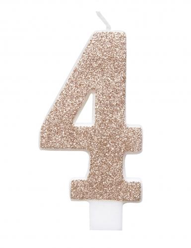 Candelina numero con brillantini color champagne-4