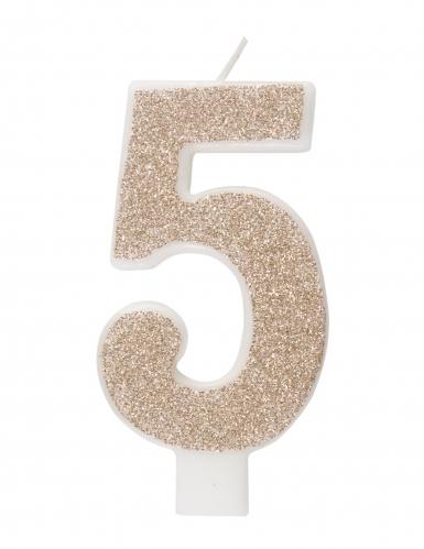 Candelina numero con brillantini color champagne-5