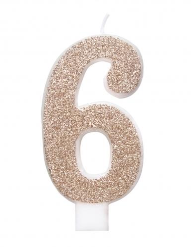 Candelina numero con brillantini color champagne-6