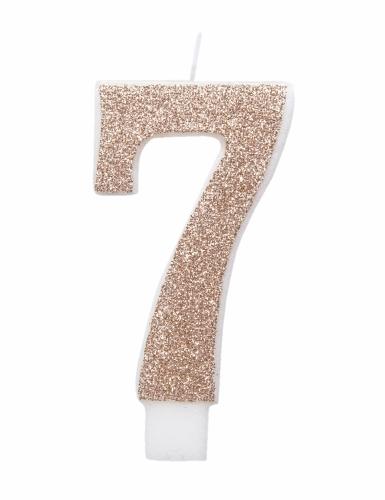 Candelina numero con brillantini color champagne-7