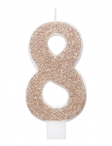 Candelina numero con brillantini color champagne-8