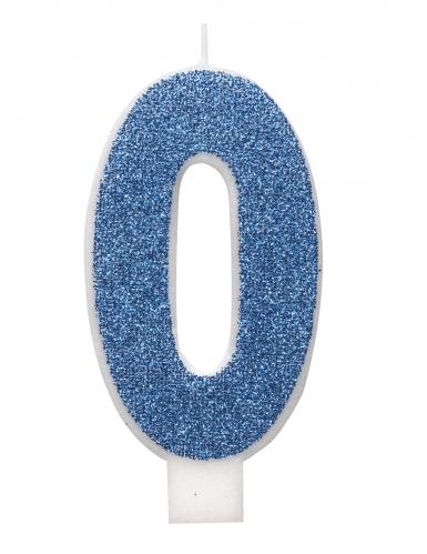 Candelina di compleanno numero blu e brillantini