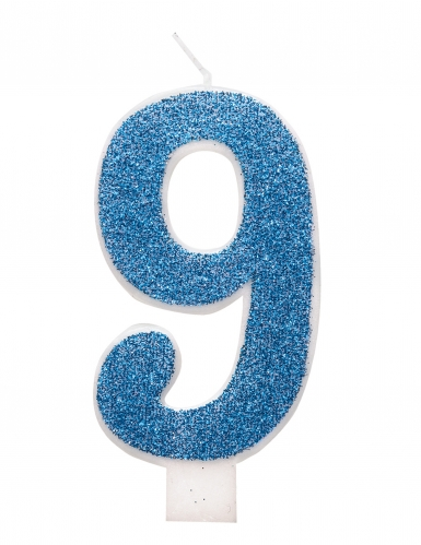 Candelina di compleanno numero blu e brillantini-9