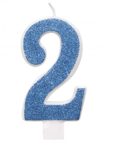 Candelina di compleanno numero blu e brillantini-2