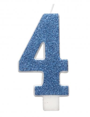 Candelina di compleanno numero blu e brillantini-4