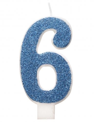 Candelina di compleanno numero blu e brillantini-6