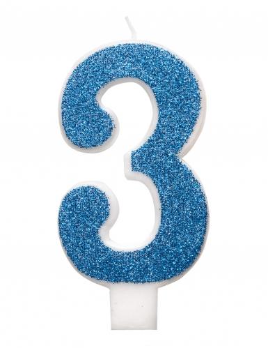 Candelina di compleanno numero blu e brillantini-3