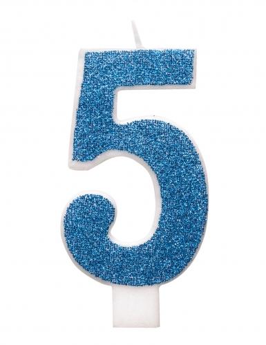 Candelina di compleanno numero blu e brillantini-5