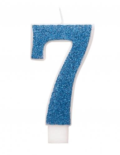 Candelina di compleanno numero blu e brillantini-7