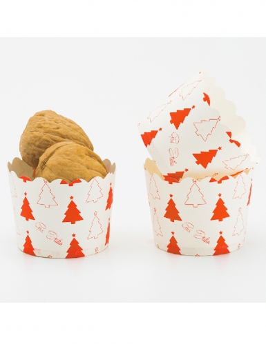 20 pirottini per cupcakes di carta alberelli rossi