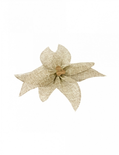 Stella di Natale in tela con perla di legno 15 cm