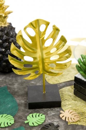 Foglia tropicale oro in metallo con supporto-1