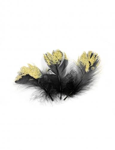 20 piume nere con brillantini oro