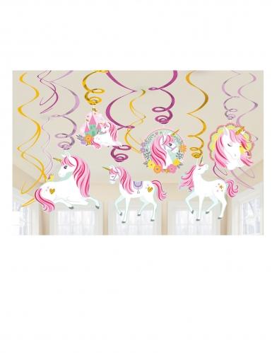 12 sospensioni a spirale unicorno magico