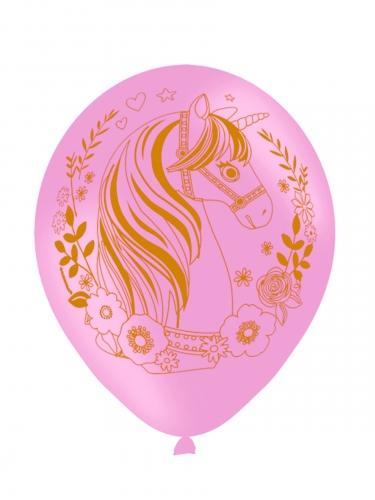 6 palloncini in lattice rosa unicorno magico