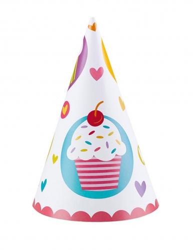 6 cappellini per festa cupcakes multicolor