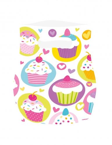 6 sacchetti regalo in plastica cupcakes multicolor