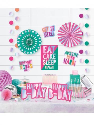 Kit decorazione in cartone metallizzato 12 pezzi Birthday Vibes-1