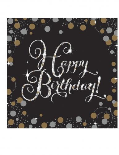 16 Tovaglioli Happy Birthday Scintillante