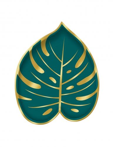 8 piattini a forma di foglia di palma tropical chic 18 cm