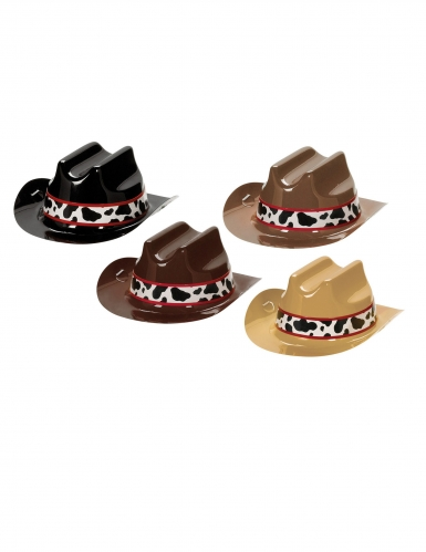 8 Mini cappelli da cowboy in plastica 13 cm