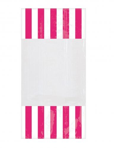 10 Sacchetti di plastica a righe fucsia 25 x 13 cm