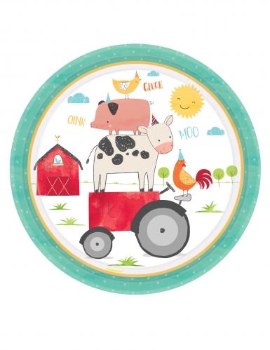 8 piatti in cartone fattoria 23 cm