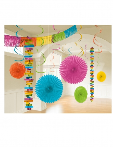Kit di 18 decorazioni di carta multicolor