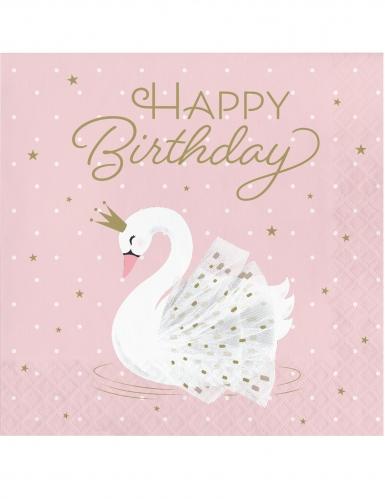 16 tovaglioli di carta Happy Birthday cigno reale