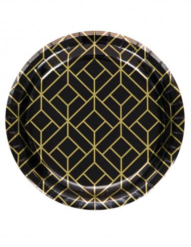 8 piattini in cartone nero e oro anni '20 18 cm