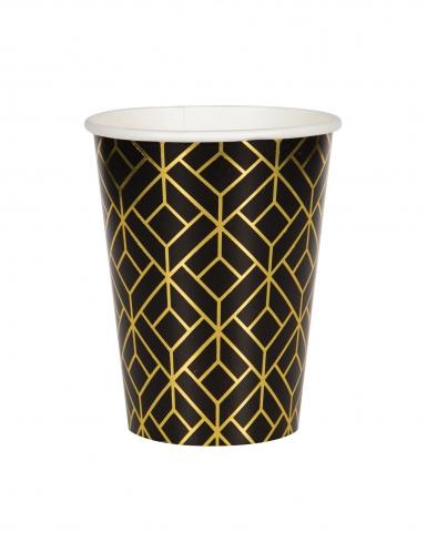 8 bicchieri in cartone nero e oro anni '20