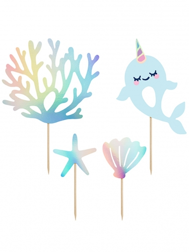 4 decorazioni per torte narvalo blu