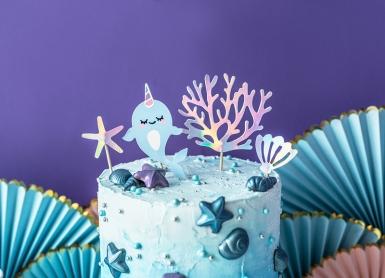 4 decorazioni per torte narvalo blu-1