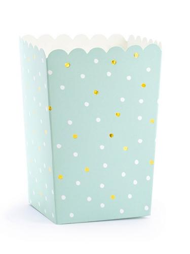 6 scatole da pop corn color menta a pois