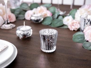 4 portacandele in vetro effetto specchio argento 6 cm-1