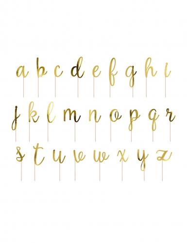 Kit decorazioni per torta in legno lettere oro