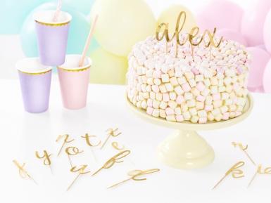Kit decorazioni per torta in legno lettere oro-1
