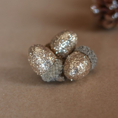 15 Ghiande con paillettes rame 3 cm-1