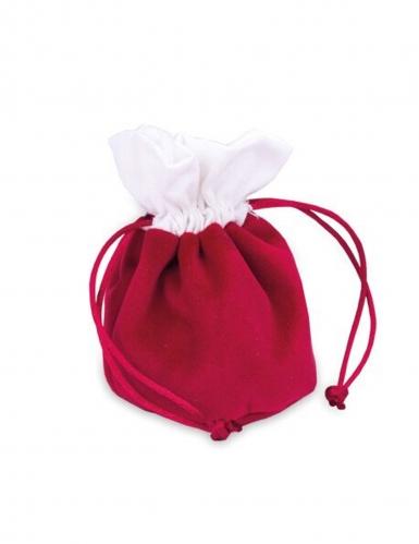 4 sacchetti in velluto rosso e cotone bianco