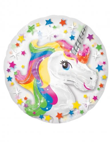 Palloncino alluminio unicorno multicolor e stelle