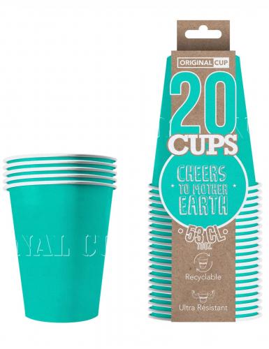 20 bicchieri in cartone riciclabile turchese