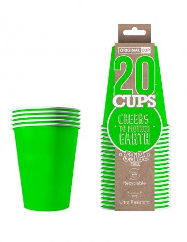 20 bicchieri in cartone riciclabile verde-1