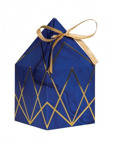 8 scatole in cartone marmo blu e oro