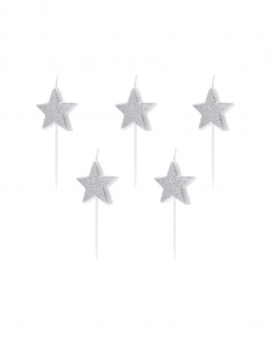 5 candeline di compleanno stelle argento con brillantini